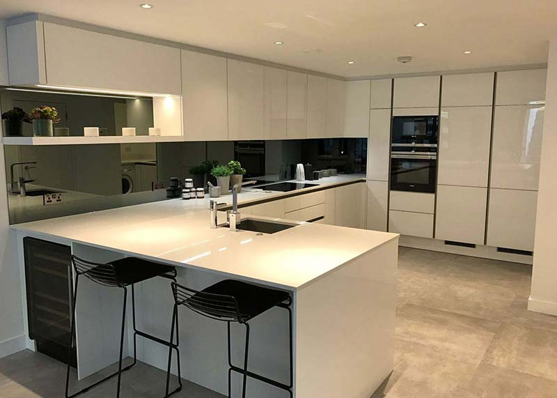 Snow Storm Quartz worktops in boutique residential development